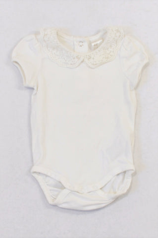 H&M White Lace Collar Inset Baby Grow Girls 4-6 months