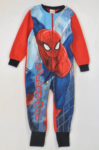 Marvel Blue & Red Fleece Spiderman Onesie Boys 5-6 years
