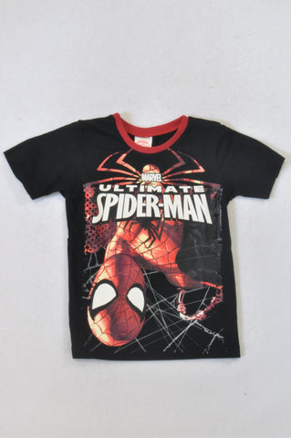Edgars Black Red Trim Ultimate Spiderman T-shirt Boys 5-6 years
