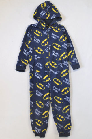 Unknown Brand Navy Fleece Batman Onesie Boys 5-6 years