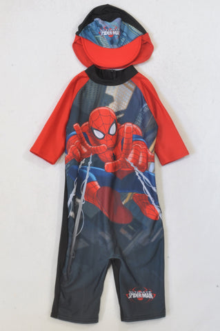 Woolworths Red & Black Spiderman Cap And Swim Suit Boys 5-6 years