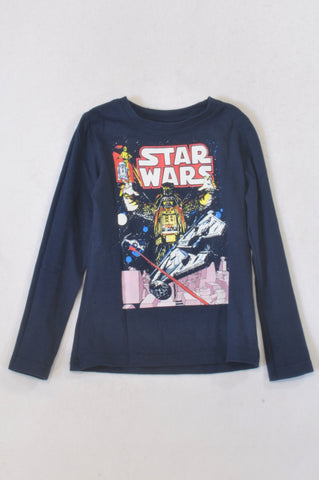 Star Wars Navy Space T-shirt Boys 5-6 years
