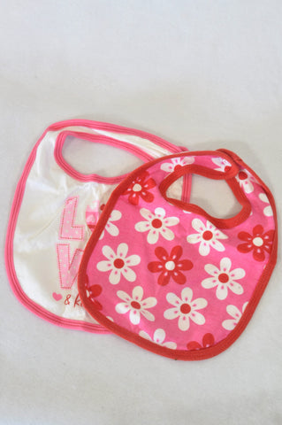 Woolworths 2 Pack Pink Floral Bibs Girls N-B to 1 year