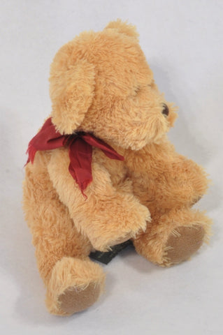 Caramel Plush Red Ribbon Bear Toy Unisex All Ages
