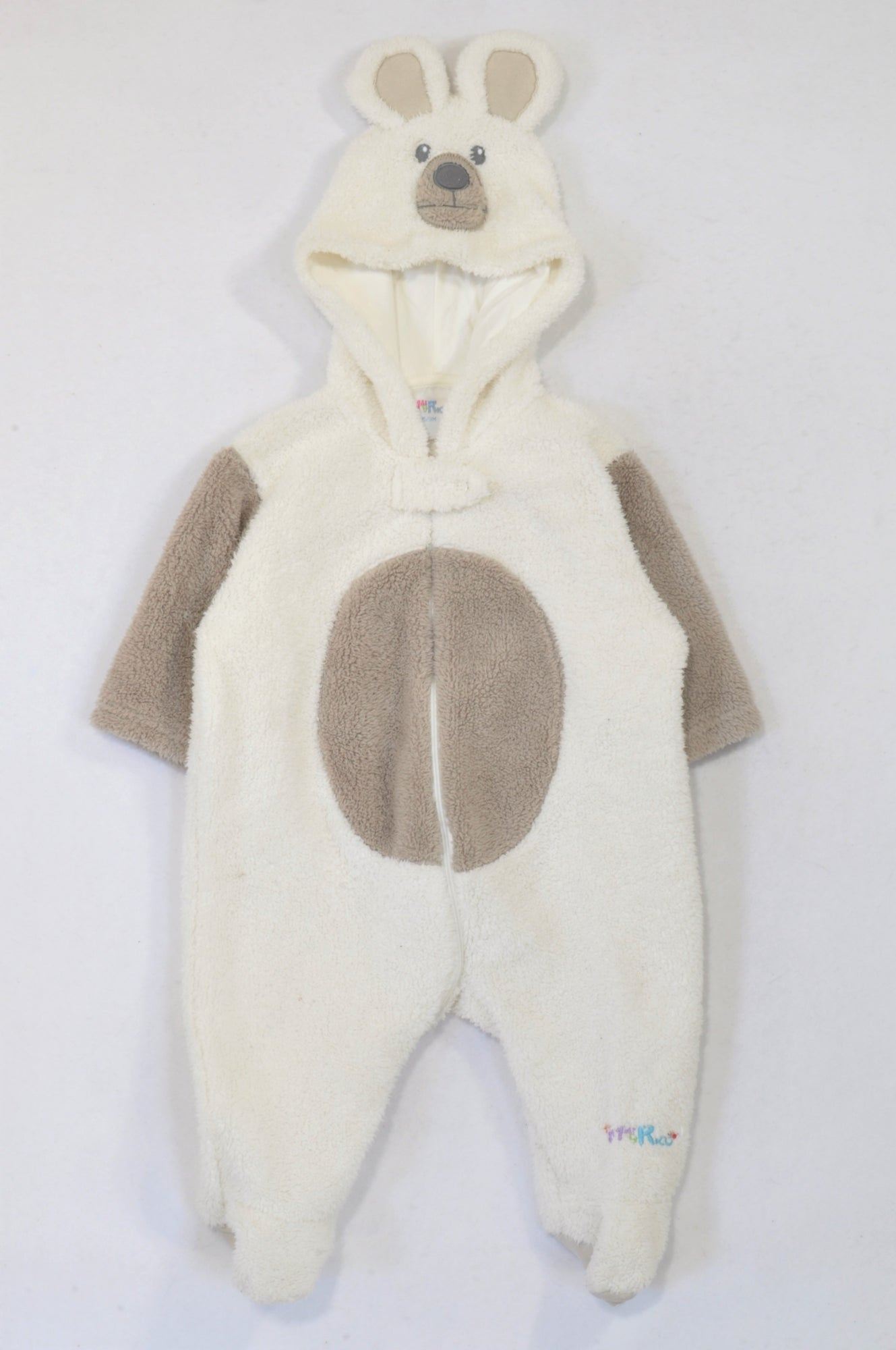 Mai Rico White & Brown Fleece Mouse Onesie Unisex 6-9 months