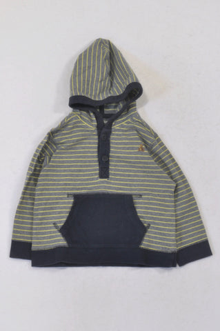 GAP Yellow Stripe Navy Lined Top Boys 18-24 months