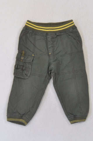Ackermans Olive Yellow Trim Lined Cargo Pants Boys 18-24 months