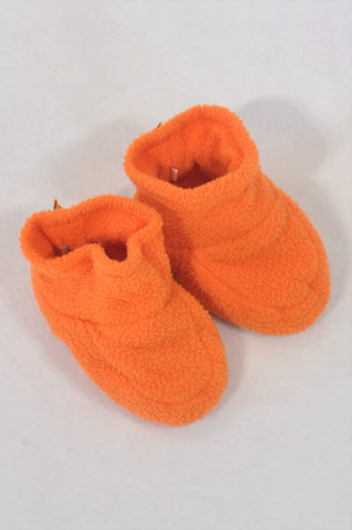 Hooligans Size 2 Orange Fleece Slippers Unisex 6-9 months