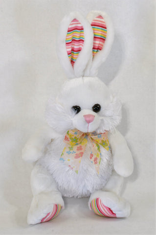 Rainbow Stripe Detail Bunny Soft Toy Unisex All Ages