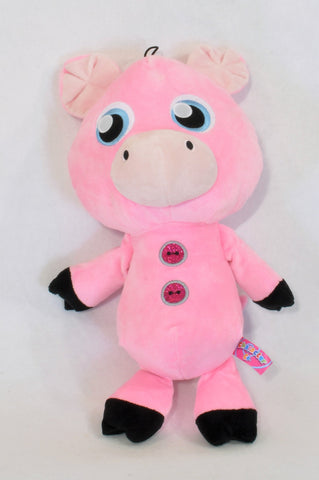 Pink Piglet Glitter Button Soft Toy Girls All Ages
