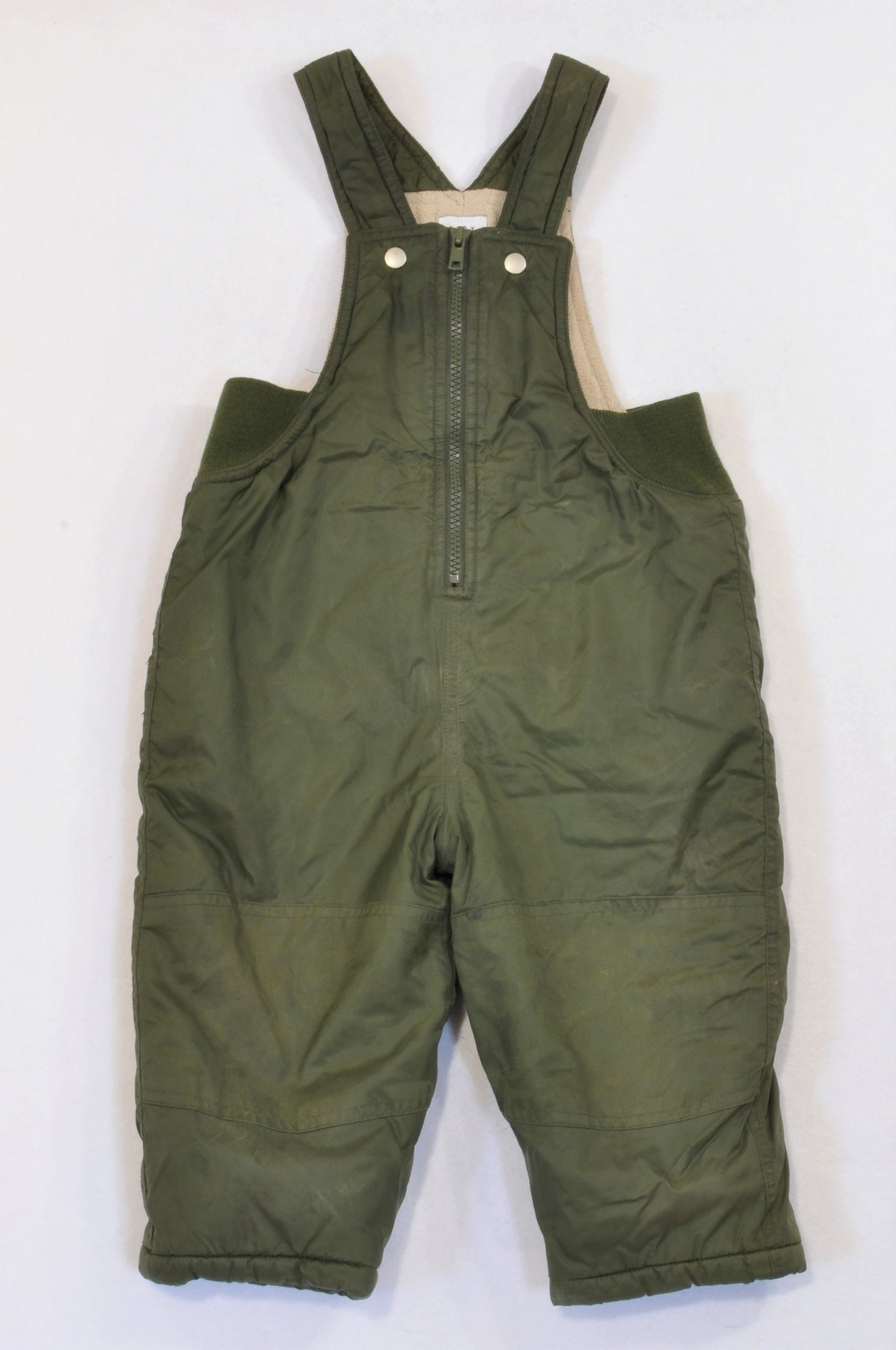 25529bdb3 GAP Olive Fleece Lined Snowsuit Dungarees Unisex 18-24 months – Once ...
