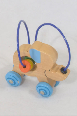Wooden Elephant Wire Push Along Toy Boys N-B to 2 years