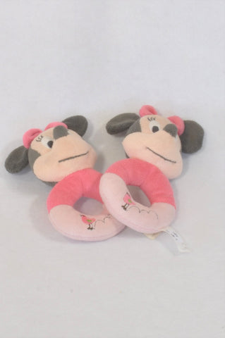 2 Pack Minnie Mouse Rattles Girls N-B to 2 years