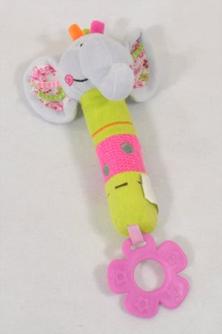Grey & Pink Squeaky Elephant Teether Toy Girls N-B to 1 year