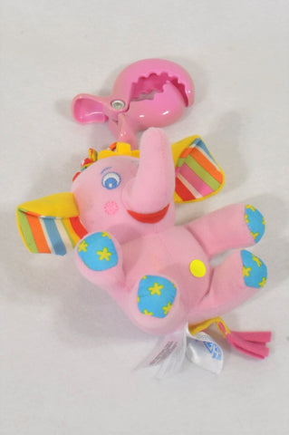 Tiny Love Pink Elephant Rattle Clip Toy Girls N-B to 1 year