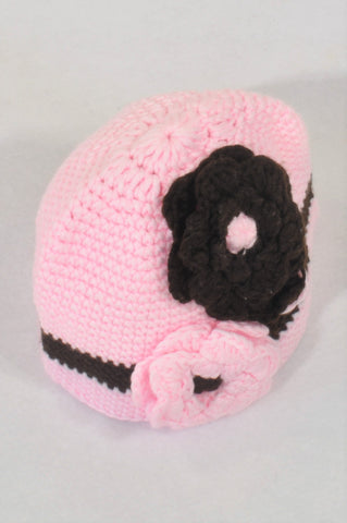 Pink & Brown Flower Beanie Girls 3-10 years