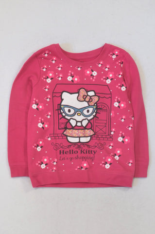 Hello Kitty Cerise Let's Go Shopping Top Girls 5-6 years