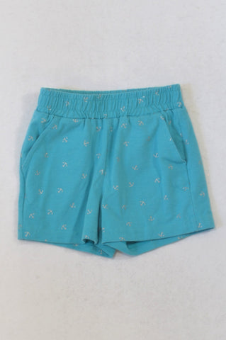 Pick 'n Pay Blue & Silver Anchor Print Play Shorts Girls 5-6 years