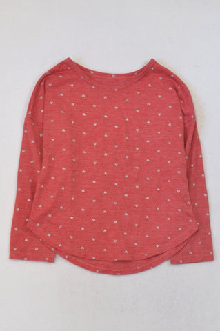 Woolworths Red & Silver Heart Print T-shirt Girls 6-7 years