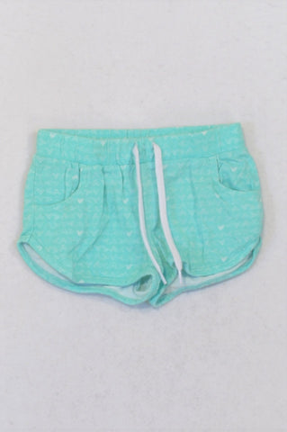 Woolworths Aqua Geometric Drawstring Play Shorts Girls 2-3 years
