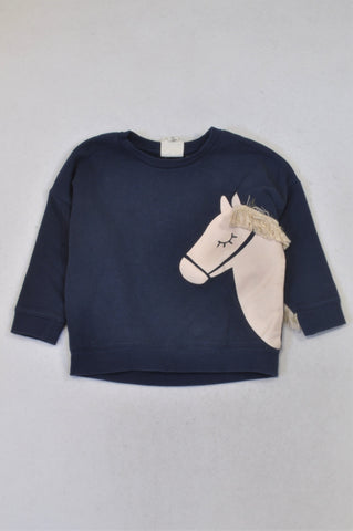 Cotton On Navy Horse Tassel Sleeve Top Girls 2-3 years