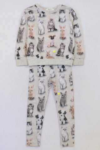 H&M Grey Dog, Cat & Bunny Outfit Girls 3-4 years