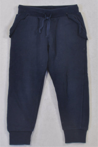 Cotton On Navy Cuffed Ruffle Pocket Track Pants Girls 2-3 years