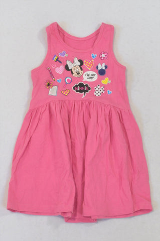 Disney Pink Minnie Tank Dress Girls 2-3 years