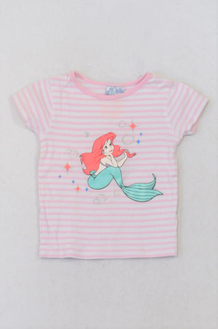 Cotton On White & Pink Stripe Arial Cameo T-shirt Girls 2-3 years