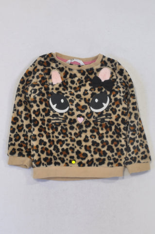 H&M Beige Fleece Animal Print Top Girls 2-4 years