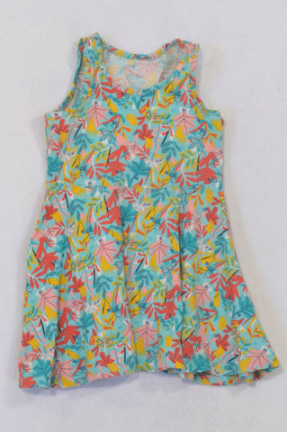 Woolworths Aqua, Yellow & Coral Floral Dress Girls 2-3 years