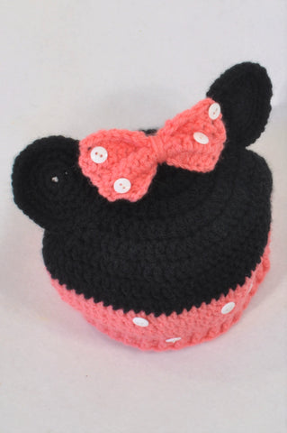 Handmade Coral & Black Knit Minnie Beanie Girls 18 months to 3 years