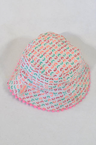 Naartjie Coral & Mint Lumo Pom Pom Trim Sun Hat Girls 1-2 years