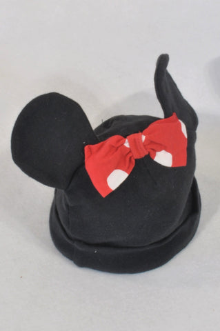 Woolworths Black & Red Bow Minnie Beanie Girls 3-6 months