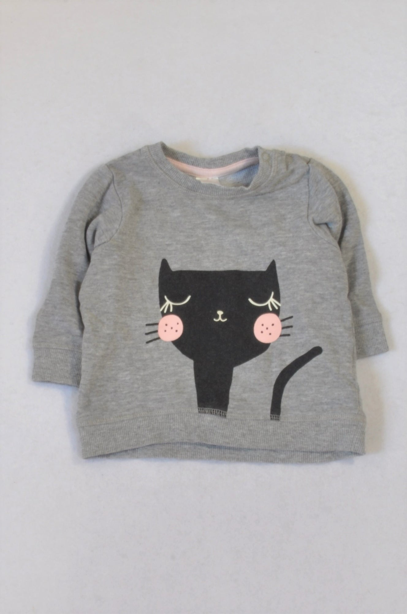 4e550db00473 H M Black Cat Grey Top Girls 4-6 months – Once More