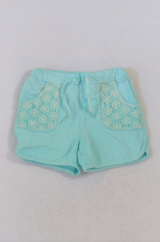 Woolworths Aqua Lace Pocket Detail Shorts Girls 2-3 years