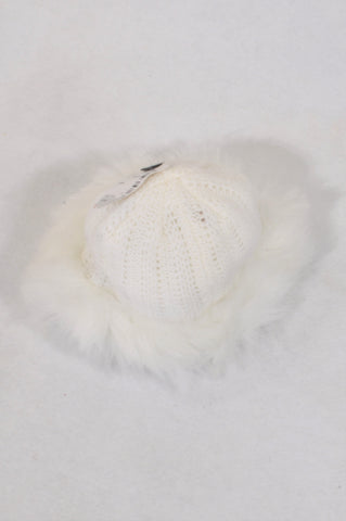 Edgars White Knit Faux Fur Detail Beanie Girls 3-6 months