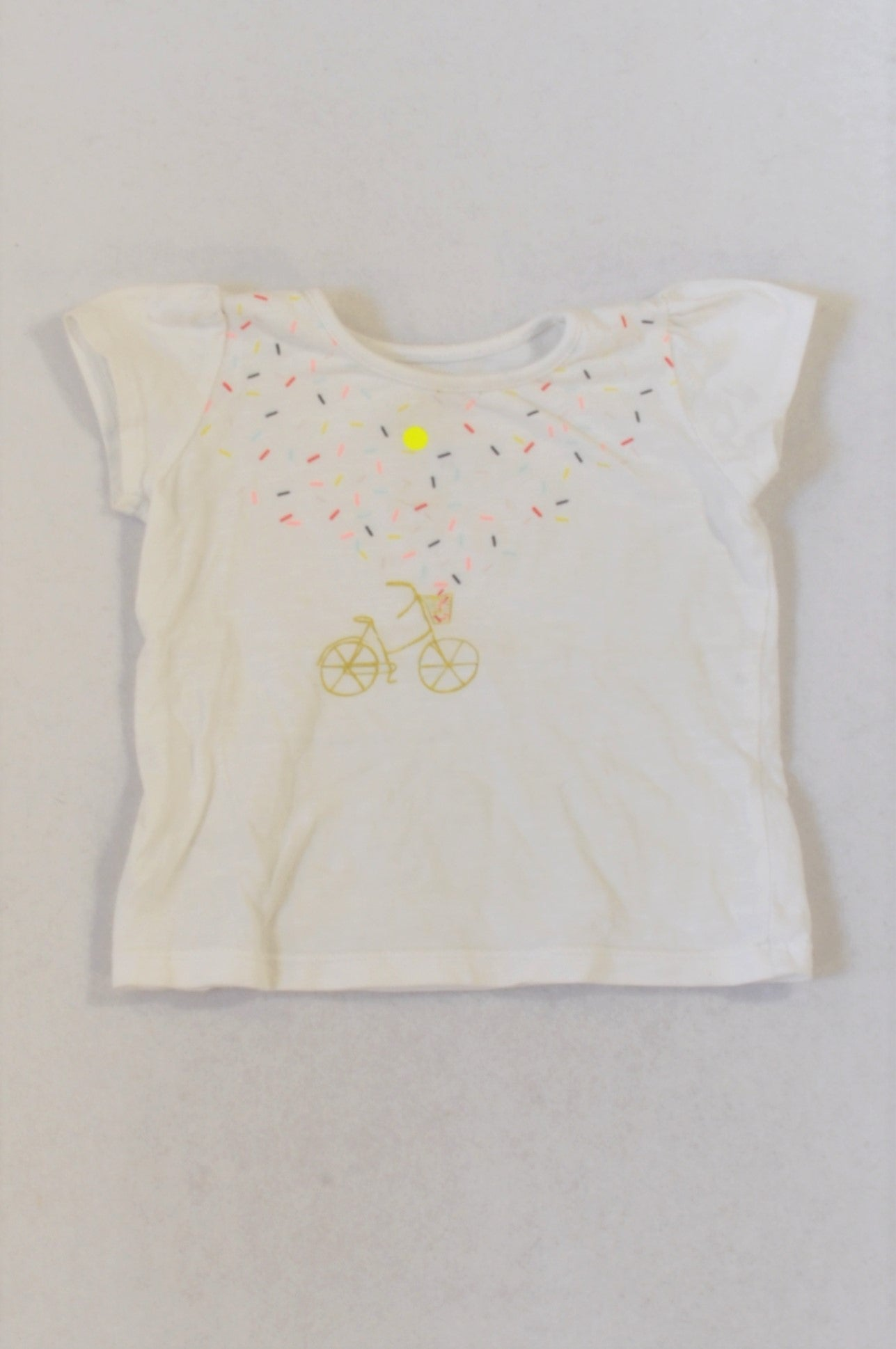 Woolworths White Confetti Bicycle T-shirt Girls 6-12 months