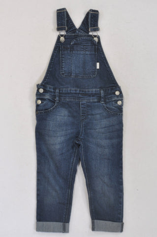 Earthchild Dark Stone Washed Denim Dungarees Unisex 2-3 years