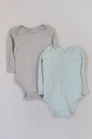 Woolworths 2 Pack Grey Striped & Aqua Baby Grows Boys 12-18 months