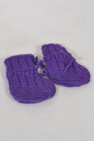 Handmade Size 4 Purple Knit Booties Girls 12-18 months