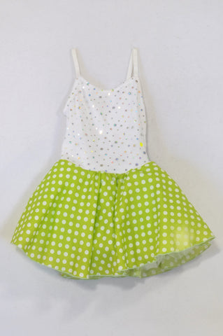 Green Dotty Sequin Puffy Dress Girls 2-3 years