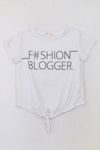 H&M White Blogger Crop Top Girls 8-10 years