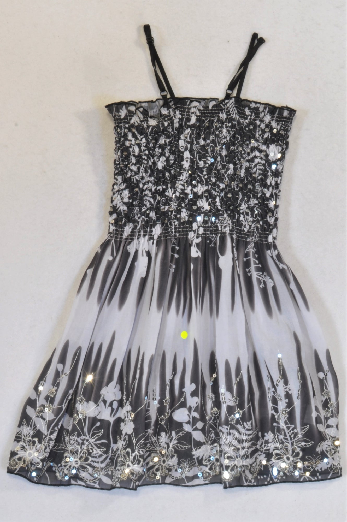 Black & White Sequin Chiffon Dress Girls 5-6 years