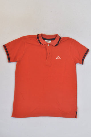 Ellesse Orange Navy Neckline Trim Golf T-shirt Boys 8-9 years