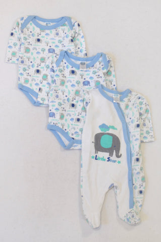 Ackermans 3 Pack Blue Elephant Babygrows & Onesie Outfit Boys N-B