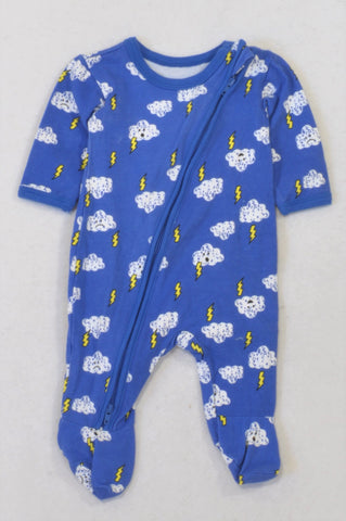 Woolworths Royal Blue Cloudy Lightning Bolt Onesie Boys N-B