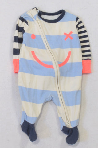 Cotton On Blue Striped Smiley Face Onesie Girls N-B