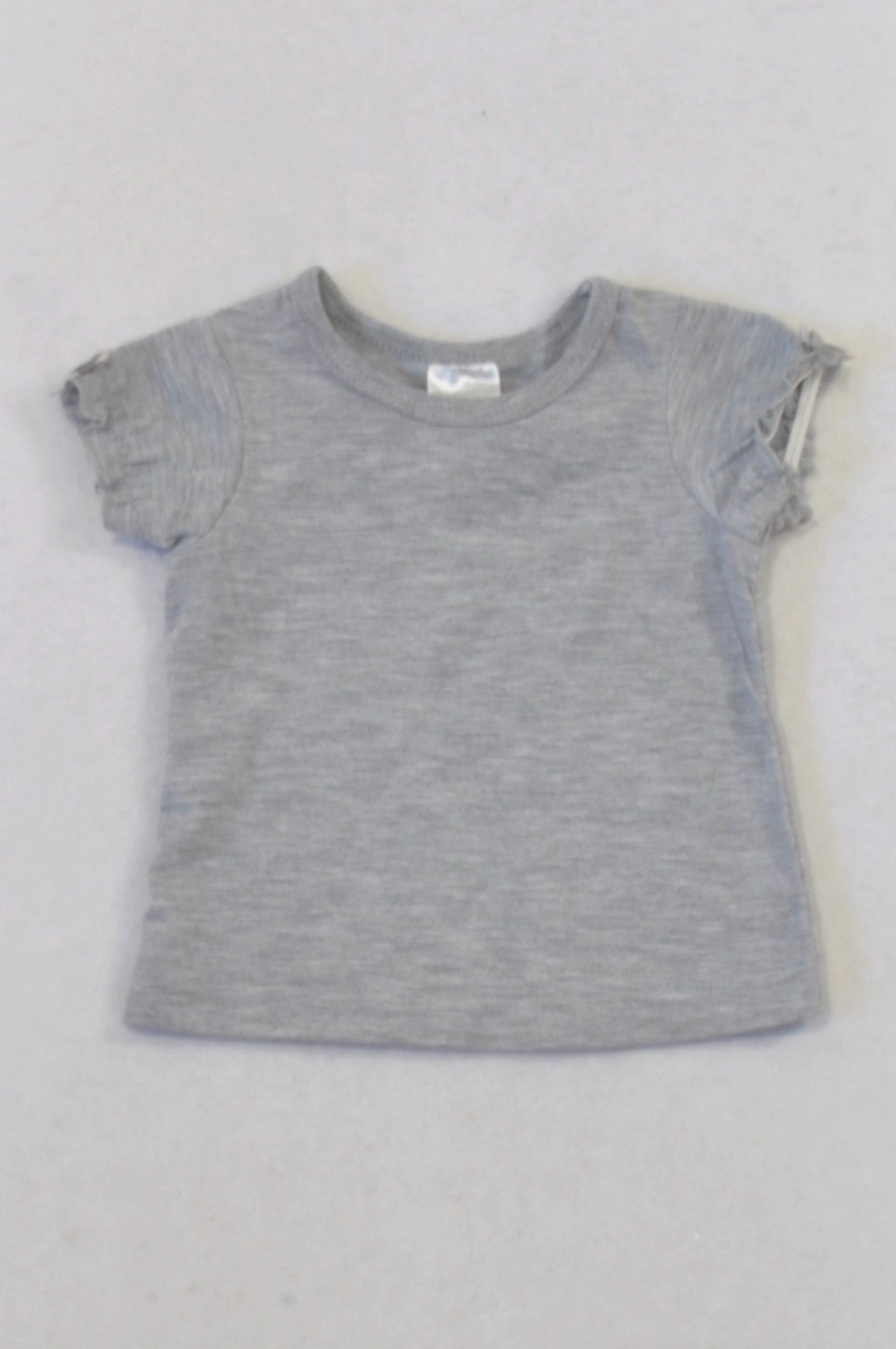 Edgars Basic Grey Frill Arm Bow Detail T-shirt Girls 0-3 months
