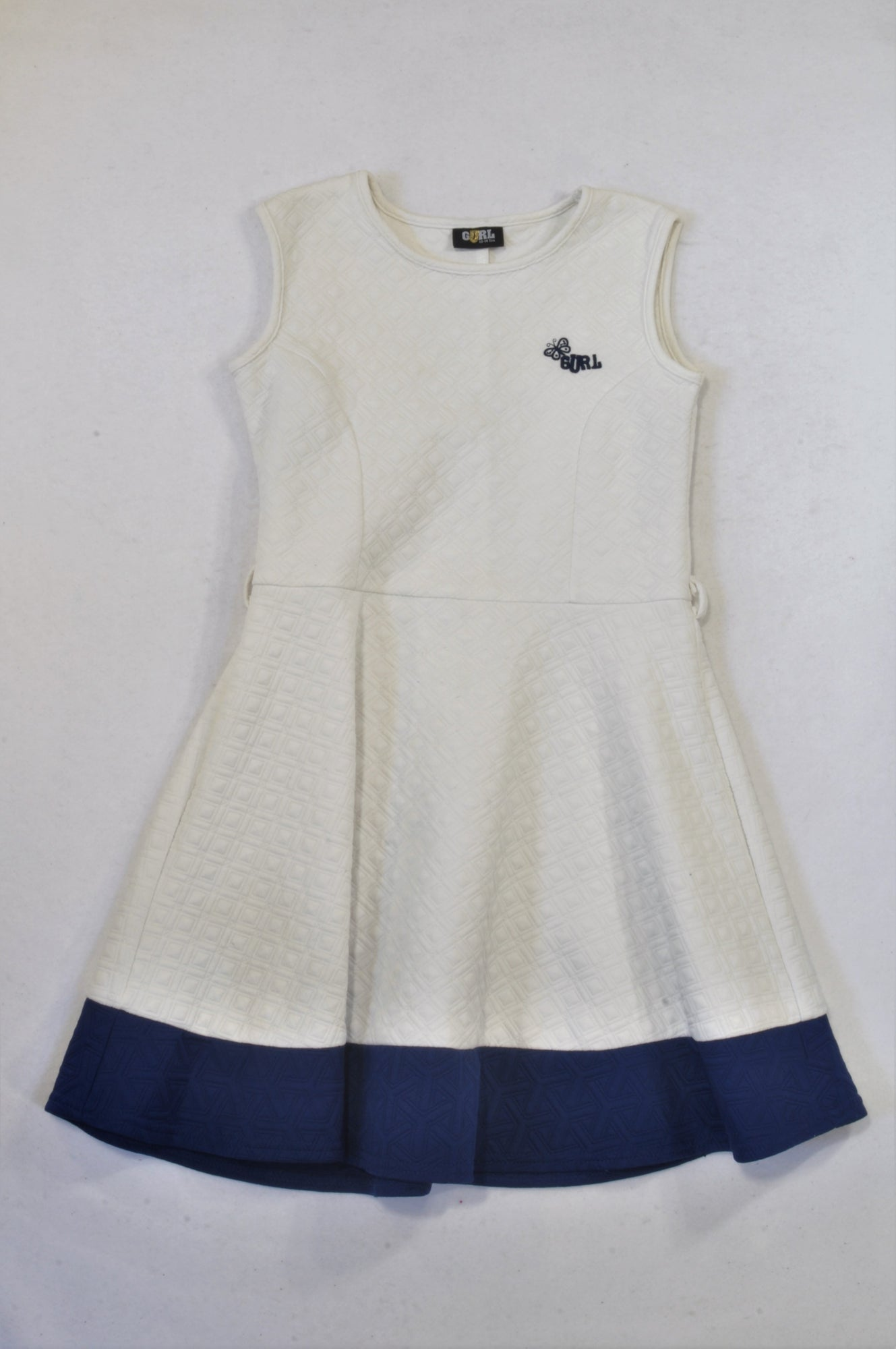 Gurl White & Blue Textured Dress Girls 13-14 years
